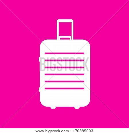 Baggage sign illustration. White icon at magenta background.