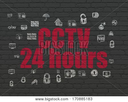 Safety concept: Painted red text CCTV 24 hours on Black Brick wall background with  Hand Drawn Security Icons