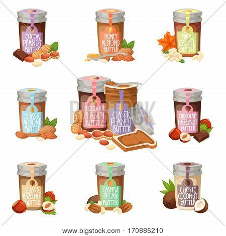 Peanut butter vector flat design illustration jar. Breakfast food snack brown delicious. Natural protein creamy healthy nutrition glass container.