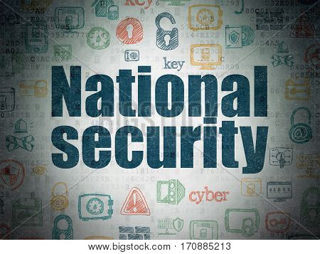 Security concept: Painted blue text National Security on Digital Data Paper background with   Hand Drawn Security Icons