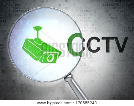 Security concept: magnifying optical glass with Cctv Camera icon and CCTV word on digital background, 3D rendering