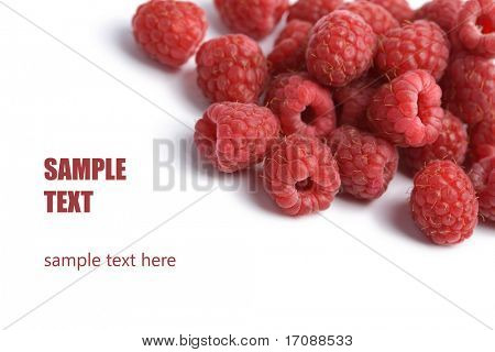 fresh raspberries background isolated
