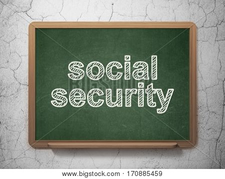 Safety concept: text Social Security on Green chalkboard on grunge wall background, 3D rendering