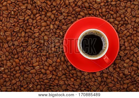 Americano In Red Cup With Saucer On Coffee Beans