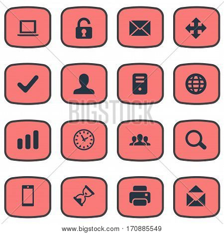 Set Of 16 Simple Application Icons. Can Be Found Such Elements As User, Open Padlock, Message And Other.