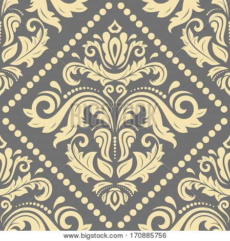 Seamless damask pattern. Traditional classic orient ornament. Gray and golden pattern