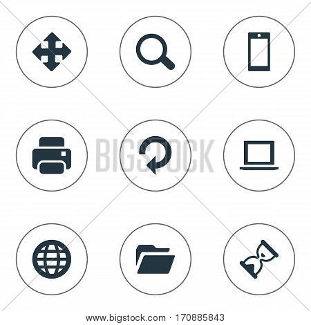 Set Of 9 Simple Practice Icons. Can Be Found Such Elements As Sand Timer, Web, Refresh.
