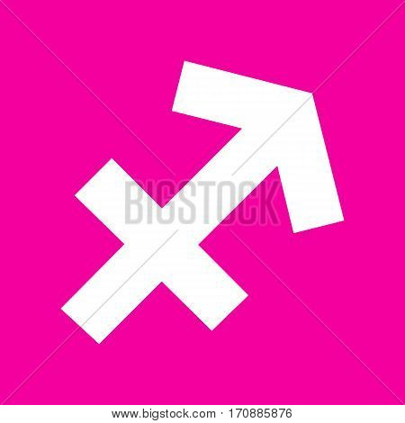 Sagittarius sign illustration. White icon at magenta background.