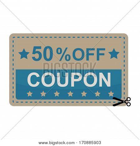 Sale coupon sticker percent discount symbol vector illustration. Premium quality vintage coupon retail advertising element. Promotion ribbon shopping card.