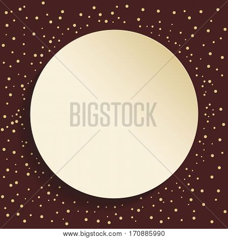 Nice frame with dots and volume circle. Fine greeting card. Brown and golden colors