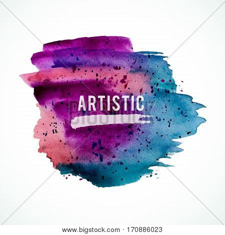 Vector watercolor handmade background. Colorful blot. Dark violet and blue spot. Sale frame.