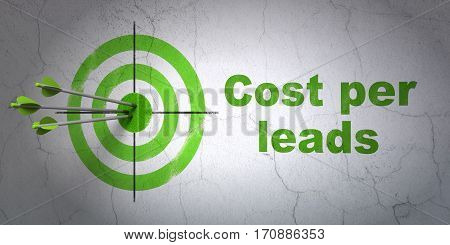 Success business concept: arrows hitting the center of target, Green Cost Per Leads on wall background, 3D rendering