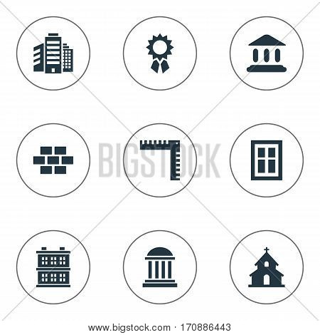 Set Of 9 Simple Structure Icons. Can Be Found Such Elements As Glazing, Popish, Length And Other.