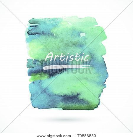 Vector watercolor handmade background. Colorful blot. Green and blue spot. Artistic frame