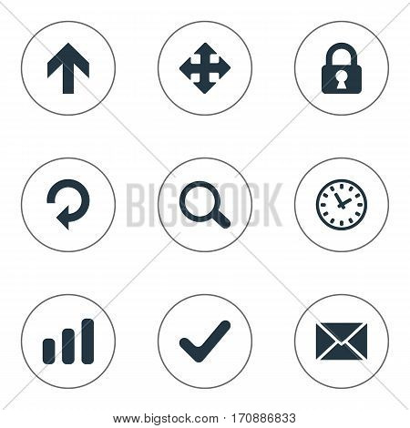 Set Of 9 Simple Application Icons. Can Be Found Such Elements As Watch, Message, Upward Direction And Other.