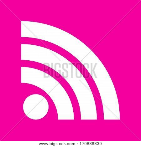 RSS sign illustration. White icon at magenta background.