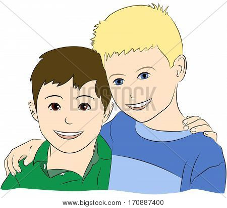Drawing of two young boys who are best friends, smiling, with their arms around each other.