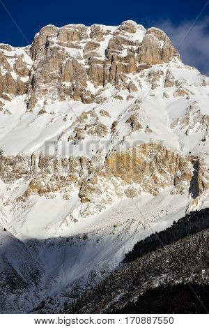 Mountain cliffs of the Devoluy Massif (Tete de la Cluse peak) in the Southern French Alps. Hautes Alpes France