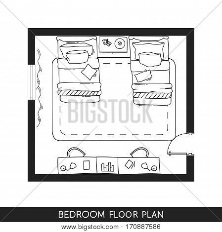 Bedroom with hand-drawn furniture in top view. Vector illustration