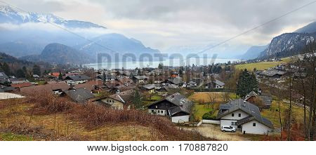 Small picturesque village St. Gilgen by the Wolfgangsee in the Austrian state of Salzburg in the