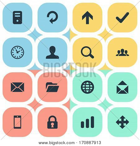 Set Of 16 Simple Apps Icons. Can Be Found Such Elements As Arrows, Computer Case, Message And Other.