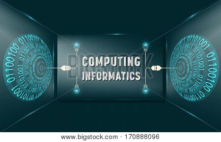 Two abstract circles with binary code and glass panel with the words compoting informatics