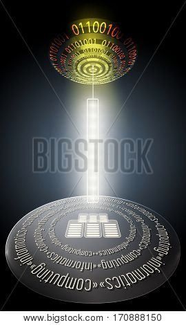 Futuristic abstract background with binary code and circular object with the words computing informatics