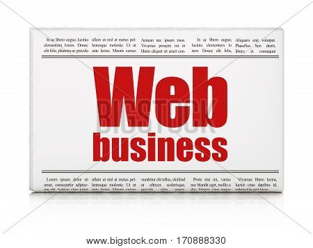 Web design concept: newspaper headline Web Business on White background, 3D rendering