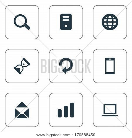 Set Of 9 Simple Apps Icons. Can Be Found Such Elements As Notebook, Statistics, Sand Timer.