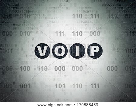 Web development concept: Painted black text VOIP on Digital Data Paper background with Binary Code