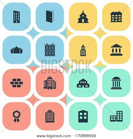 Set Of 16 Simple Construction Icons. Can Be Found Such Elements As Superstructure, Offices, Popish And Other.