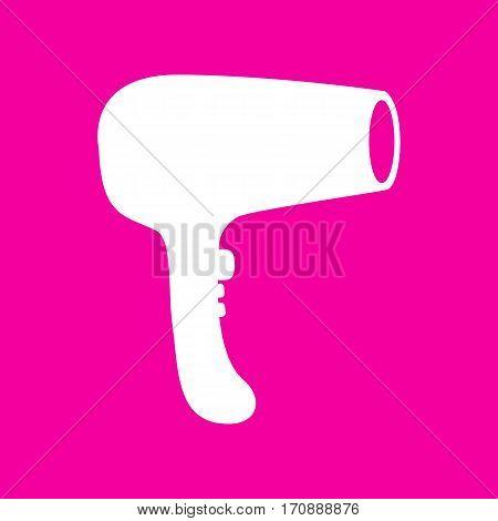Hair Dryer sign. White icon at magenta background.