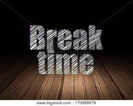 Timeline concept: Glowing text Break Time in grunge dark room with Wooden Floor, black background