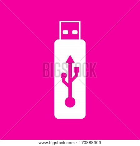 Vector USB flash drive sign. White icon at magenta background.