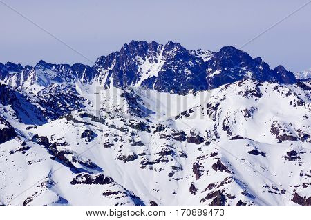 Andes. Snowy mountain in Chile. Beautiful landscape