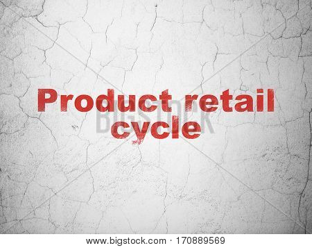 Advertising concept: Red Product retail Cycle on textured concrete wall background