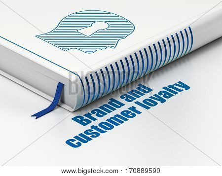 Advertising concept: closed book with Blue Head With Keyhole icon and text Brand and Customer loyalty on floor, white background, 3D rendering
