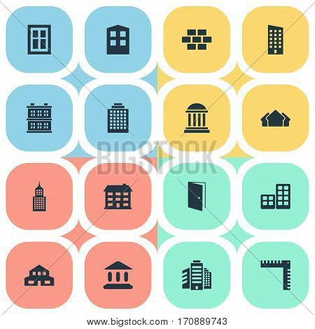 Set Of 16 Simple Structure Icons. Can Be Found Such Elements As Stone, Residential, Shelter And Other.