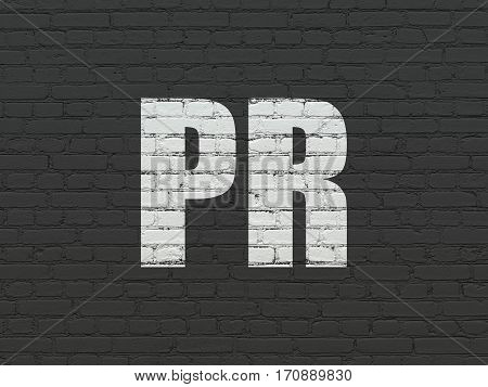Marketing concept: Painted white text PR on Black Brick wall background