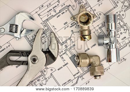 plumbing equipment house plans isolated on white background