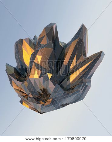 abstract architectural shape, 3d illustration