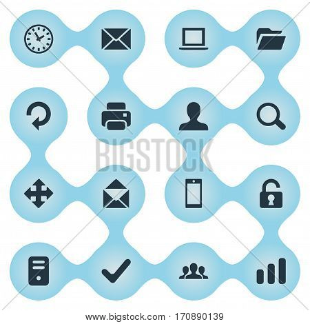 Set Of 16 Simple Application Icons. Can Be Found Such Elements As Printout, Dossier, Notebook And Other.