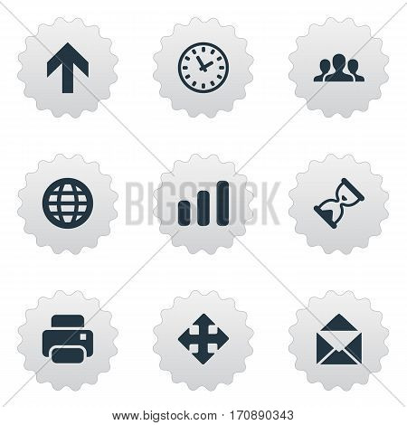 Set Of 9 Simple Apps Icons. Can Be Found Such Elements As Watch, Web, Printout And Other.