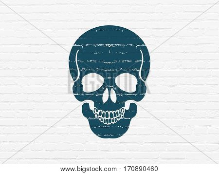 Health concept: Painted blue Scull icon on White Brick wall background