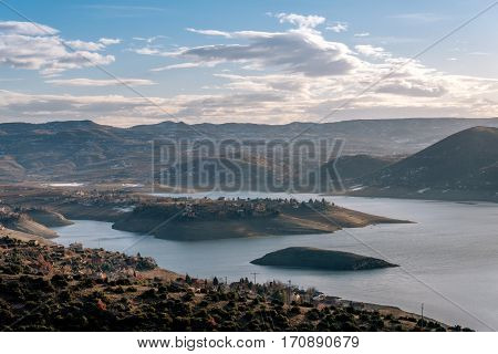 Tikves lake with the beautiful islands and blue sky