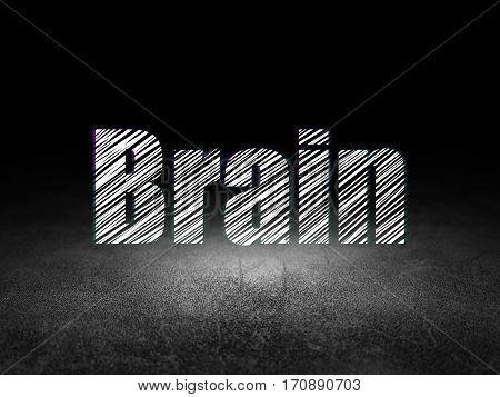 Medicine concept: Glowing text Brain in grunge dark room with Dirty Floor, black background