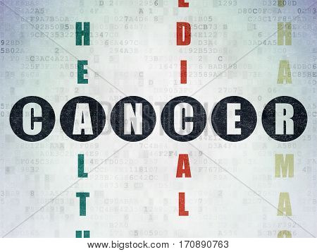 Healthcare concept: Painted black word Cancer in solving Crossword Puzzle on Digital Data Paper background