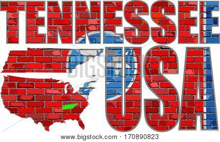 Flag of Tennessee on a brick wall - Illustration, Font with the Tennessee flag,  Tennessee map on a brick wall