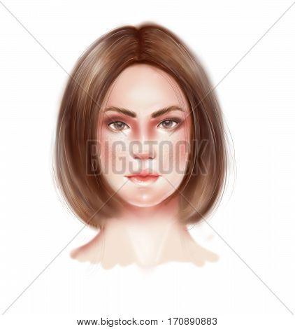 Semi realistic raster illustration of woman face
