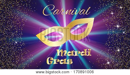 Mardi Gras celebration concept with golden mask and lettering typography on a colorful background. Vector illustration for cards, banners, print.